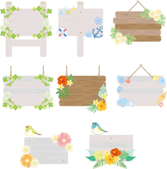 Spring summer decoration signboard set