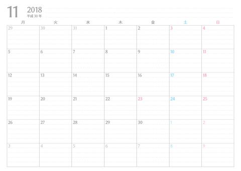書き込みカレンダー月始め2018年11月