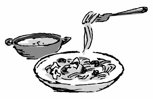 Spaghetti and soup (black and white)