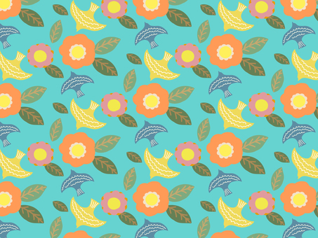 Flower and bird background material pattern