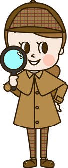 Detective young lady with loupe (detective 6)