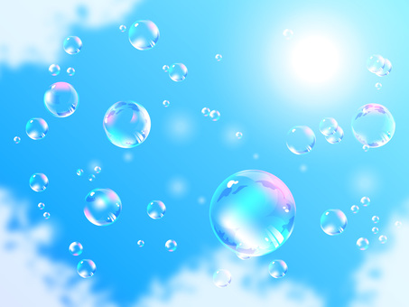 Bubbles floating in the blue sky 04