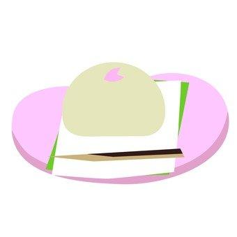 Sakura Manju (with dish)