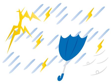 激しい雷雨と傘