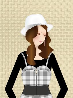 Monotone fashion lady illustration background