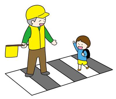 Road safety uncle and child
