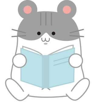 Hamster reading a book