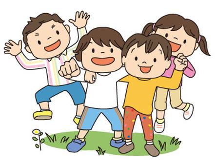 건강한 아이 4 명 집합