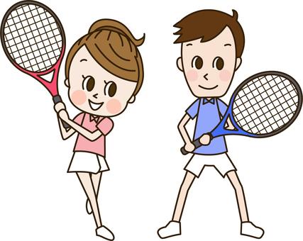 Young men and women playing tennis (Tennis 2)