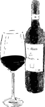 Black and white monochrome red wine wine