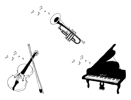 Musical instruments 3 types (hand drawn) Black and white
