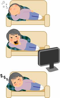 昼寝をする主婦のイラスト