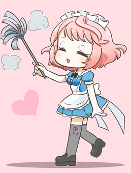Cleaning pink hair maid disgusting 1