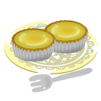 Egg tart 3 on a plate