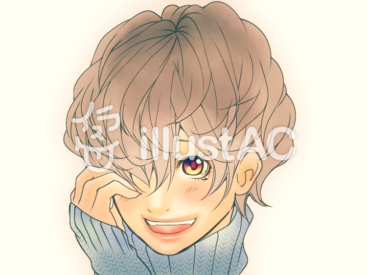 ゆるふわショートヘアの女の子泣き笑いイラスト No 1019785無料