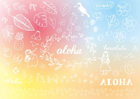 ハワイの手描き素材2