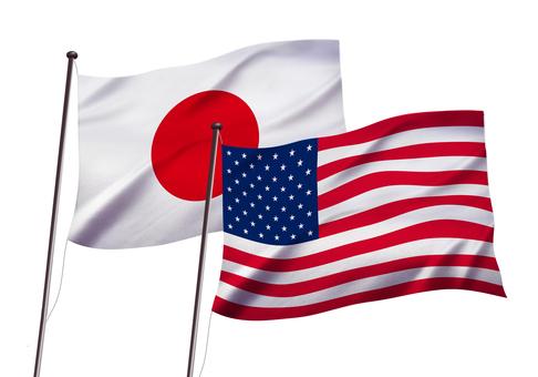 日本とアメリカの国旗イメージ