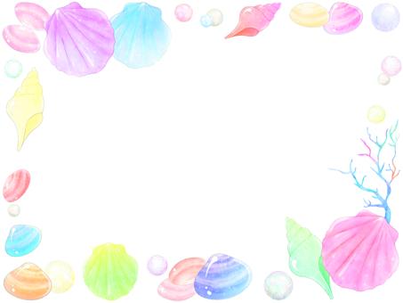 Seashell and pearl frame 2