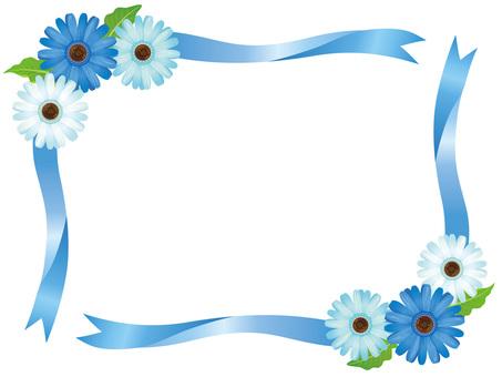 Blue Gerbera Flower and Ribbon Frame 02