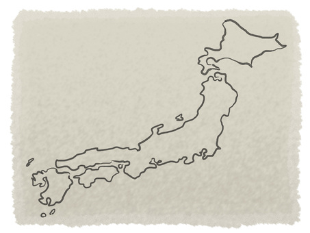 Japanese style map with brush on Japanese paper