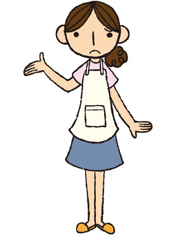 A woman of apron (worried hand / hand holding)