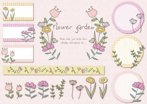 手書きの花 見出しセット