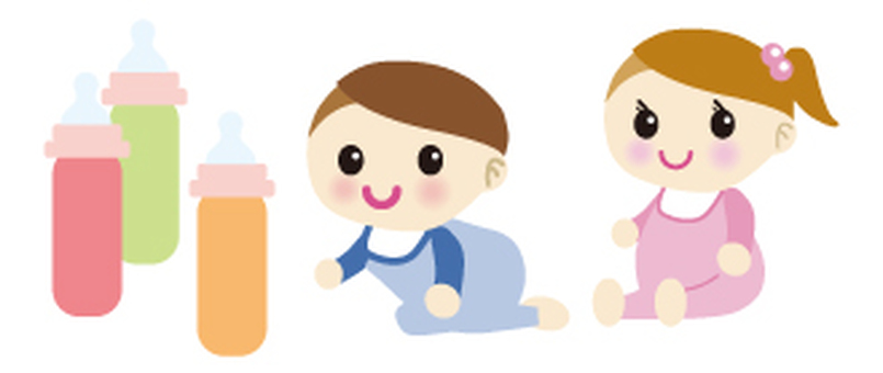 Baby and baby bottle illustration