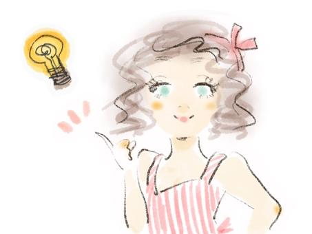 아이디어 반짝임 여성