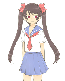 Sailor suit twin tail girl standing picture (哀)