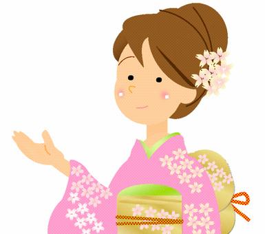 기모노 여성 ① 핑크