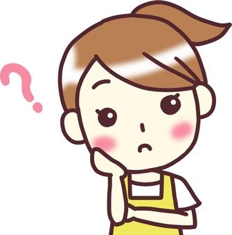 【Female apron yellow】 Front _ Hatena