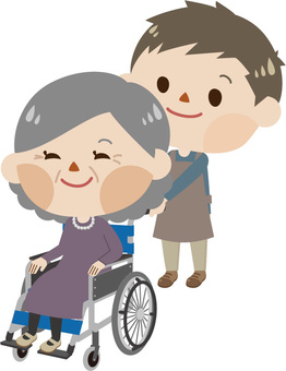 Women in wheelchairs and caregivers (men)