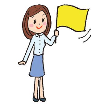 國旗的女人