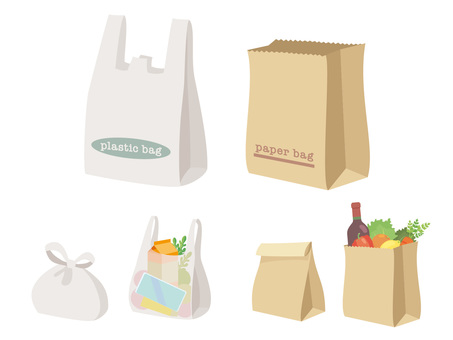 Plastic bag and paper bag