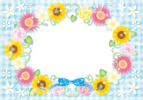 해바라기와 꽃의 프레임 (블루)