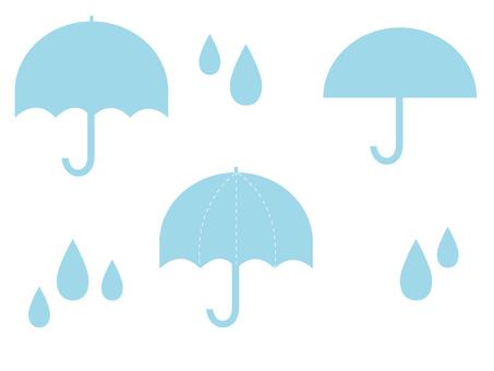 Simple light blue umbrella rain drops