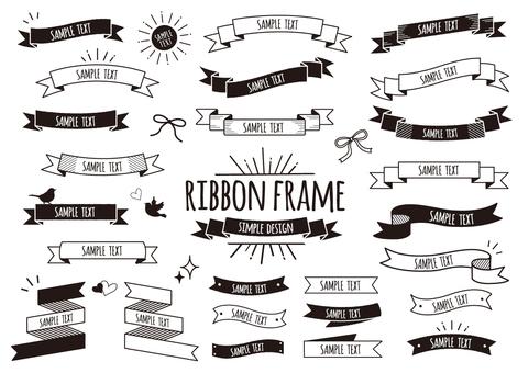 カフェ風デザインのリボンフレーム