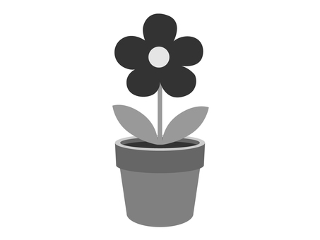 Flower pot flower (monochrome)