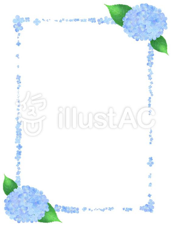 【フリーイラスト素材】青色紫陽花フレーム