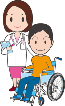 Male and female doctor on wheelchair