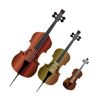 Violin and cello and contrabass