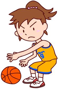 농구를하는 여자 일러스트