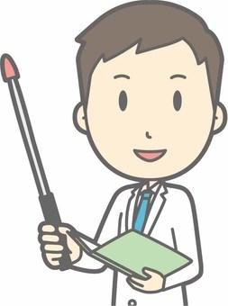Young doctor - Instructional stick 1 Left oblique - Bust