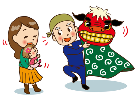 Parents looking at lion dancing (happy child)