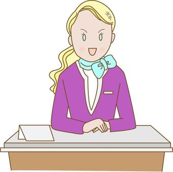 Foreign women at the reception desk