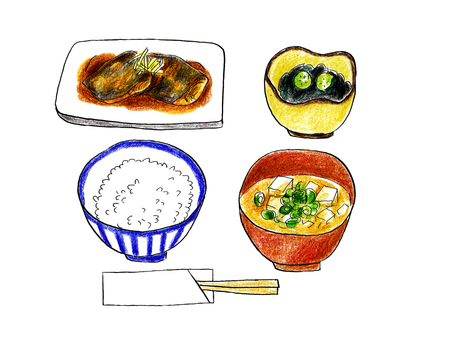 Set meal of mackerel with miso