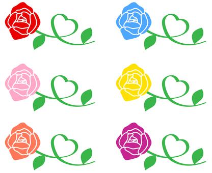 Rose stem Heart color set