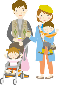 Four people and a stroller