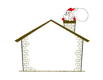 Santa and chimney decorative frame