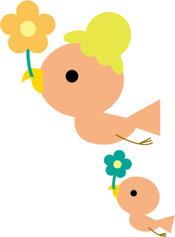 Parent's child of small bird is flying with flowers